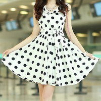 White Polka Dot Sleeveless Chiffon Dress