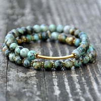 African Turquoise & Gold Beaded Bracelet Stack