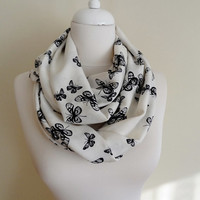 Black & White Butterfly Infinity scarf, Circle scarf, Loop Scarf Double Layer, scarves, shawls, spring - fall - winter - summer fashion