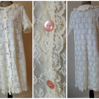 Vintage 50s 60s Lace Night Gown - Collar - Pink Button- Snap - Bridal - Lingerie - Pajama - Gown - Robe - Valentine's Day- Boberta Milwaukee