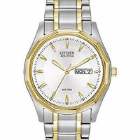 Citizen Mens Eco-Drive WR100 - Stainless & Gold Tone - White Dial - Day/Date BM8434-58A