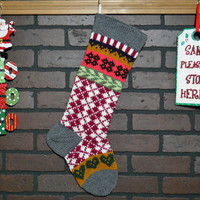 Argyle Christmas Stocking Hand Knit in Grey, Fair Isle Knit Stocking with Green Hearts, can be personalized, Housewarming/ Wedding Gift