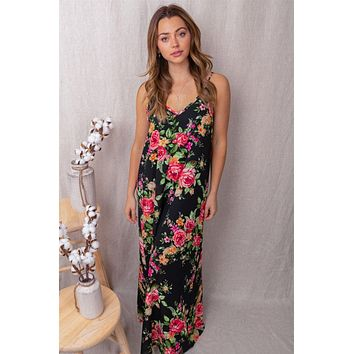 A Promise To You Black Floral Print Maxi Dress