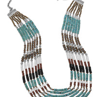 "25"" Multistrand Turquoise and Multibead Toggle Necklace"