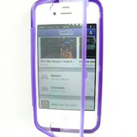 Thousand Eight(TM)Combo Gift Package For IPHONE 4/4S Wrap Up TPU Gel Skin Case Phone Cover With Built-In Screen Protector + [Touch Screen Stylus] (purple)