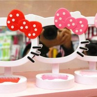 New Hello Kitty Girls Desk Table Bow Make-up Mirror  AA-031