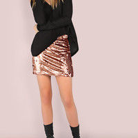 All Over Sequin Mini Skirt ROSE GOLD | MakeMeChic.COM