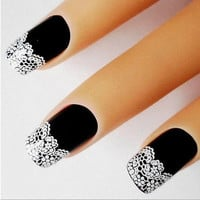 White Flower Lace Nail Art Stickers