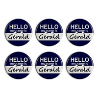 Gerald Hello My Name Is Plastic Resin Button Set of 6