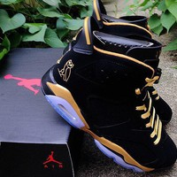 Air Jordan 6 OVO Black / Gold Basketball Shoes