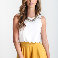 Nadine Scallop Trim Crop Top