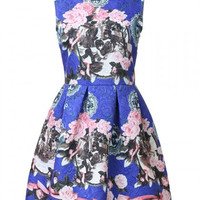 Blue Mini Cocktail Summer Dress With  Floral Print Jacquard Design
