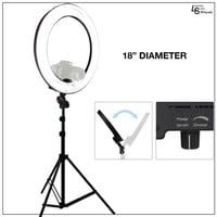 """Loadstone Studio 18"""" Ring Light Dimmable Fluorescent Continuous Lighting Kit 5500K Photography Photo Studio Light Stands with Carrying Case, WMLS1433 - Walmart.com"""