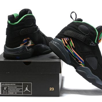 Air Jordan 8 Retro Black/Green/Orange Size 40-47