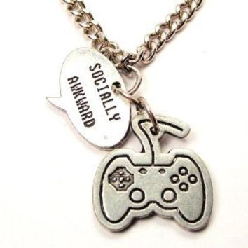 """Video Game Controller Charm with Expression Socially Awkward 18"""" Fashion Necklace"""