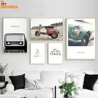 COLORFULBOY Vehicle Radio Motorcycle Vintage Posters And Prints Wall Art Paintings Canvas Pictures For Living Room Decoration