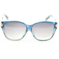 Prototype by Yohji Yamamoto 018 Claw Sunglasses Col. 04 Crystal & Blue with Grey Gradient Lenses