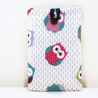 Owl print Kindle case, 7 inch tablet cover sleeve in owl print fabric, nexus 7 kindle touch and paperwhite, handmade in the UK