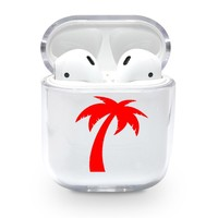 Red Palm Tree Airpods Case