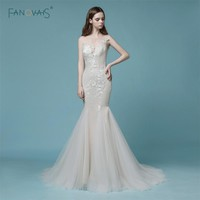 2018 Mermaid Wedding Dresses Lace Champagne Sheer Back Lace Wedding Gown Dress Bridal Tulle High Quality Wedding Party Dress NW9