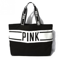 Women Canvas Shopper Tote Zipper Close Eco Versatile Sack PINK letter Handbag