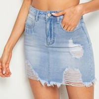 Ripped Raw Hem Denim Skirt