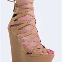 LACE UP WEDGE SANDAL