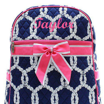 Pink and Navy Nautical Rope Preppy Monogrammed Backpack  Monogram Quilted Backpack  Personalized Backpack