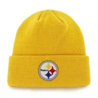 NFL Pittsburgh Steelers Beanie Cuff Embroidered Knit Winter Hat Gold Football