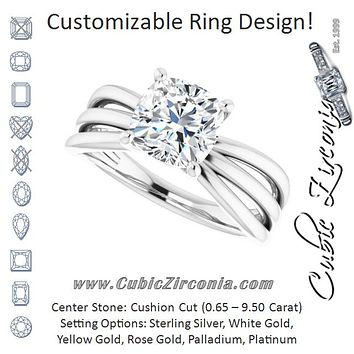 Cubic Zirconia Engagement Ring- The Maha (Customizable Cushion Cut Solitaire Design with Wide, Ribboned Split-band)