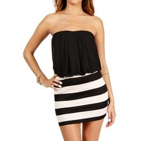 Black Stripe Color Block Dress