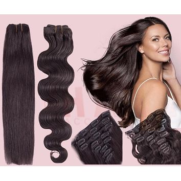 100% Remy Human Hair Clip Extensions/ Body Wave 24''