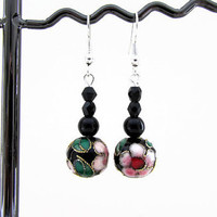 Black bead earrings, black cloisonne earrings with pink flowers, light gothic earrings, small dangle earrings, handmade in the UK