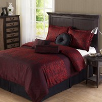 Cozy Beddings Cheetah 7-Piece Microfiber Comforter Set with Panther Print, Queen, Red/Black