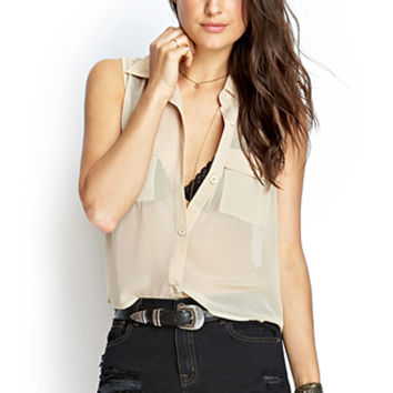 FOREVER 21 Sheer Moment Woven Top Taupe