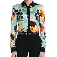 Floral Print Stretch Silk Charmeuse Blouse with Contrast Stretch Silk CDC Trim