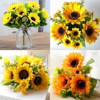7 Head Yellow Sunflower Fashion Home Decor Flowers Simulation Artificial Flowers Silk Cloth Sunflower Sonnenblumensträuße