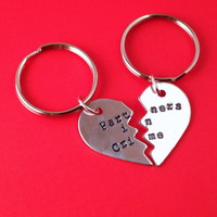 Partners in Crime Hand Stamped Broken Heart Keychain Set- In Brass, Copper, or Aluminum