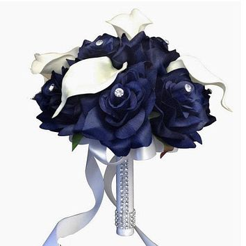 """8"""" Bouquet: navy blue artificial Roses with Real Touch (Latex) Calla lily"""