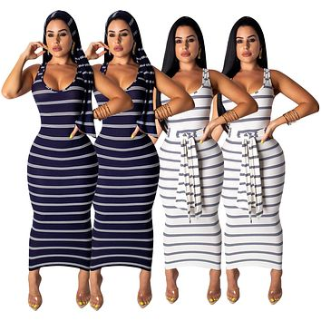 fhotwinter19 hot sale women sexy striped print sleeveless dress