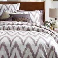 Organic Chevron Duvet Cover + Shams – Light Amethyst