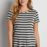 the 24/7 striped tee with high neckline | maurices
