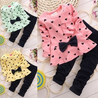 Baby Girl Clothing Sets Heart-shaped Print Bow Cute 2PCS Kids Set Girl Clothes Children Suit Top and Pants = 1714506948