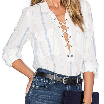 Blue Stripe White Shirt Front Lace Up Tie Up Pocket Sheer See Through Long Sleeve Blouse 2016 Fashion Sexy Ladies Office Shirts