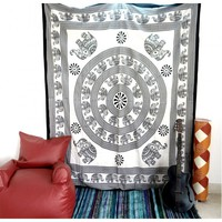 White Black Baby Elephant Mandala Wall Hanging Dorm Decor Hippie Wall Hanging Bohemian Bedspread