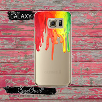 Rainbow Color Melt Wax Drip Red Orange Yellow Green Tumblr Inspired Clear Galaxy S6 Case and Clear Galaxy S6 Edge Case Custom Samsung Case