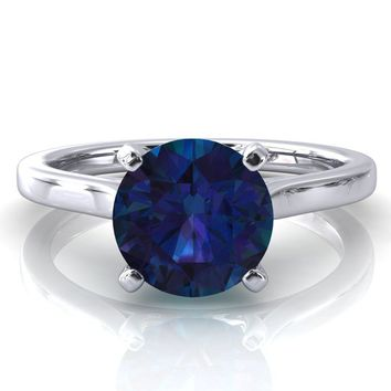 Darci Round Alexandrite 4 Prong Cathedral Solitaire Engagement Ring