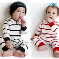 baby rompers stripe 2016 spring autumn boy girl hooded jumpsuit romper high quality brand newborn romper red black baby clothes