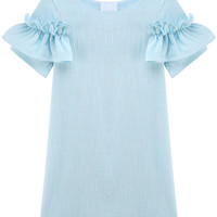 Light Blue Ruffle Sleeve Shift Dress