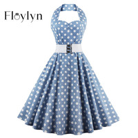 FLOYLYN Women Vintage Tunic Dress with Belt Sexy Halter Backless Retro Party Dresses 50s Rockabilly Audrey Hepburn Dress